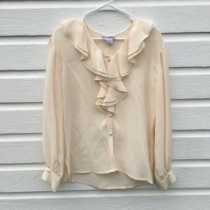 Vintage cream silk ruffle blouse